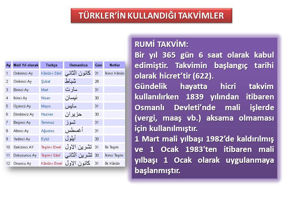 TÜRKLER'İN KULLANDIĞI TAKVİMLER