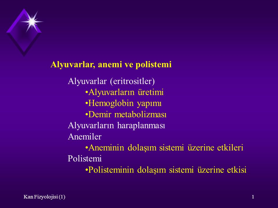 Alyuvarlar, anemi ve polistemi Alyuvarlar (eritrositler)