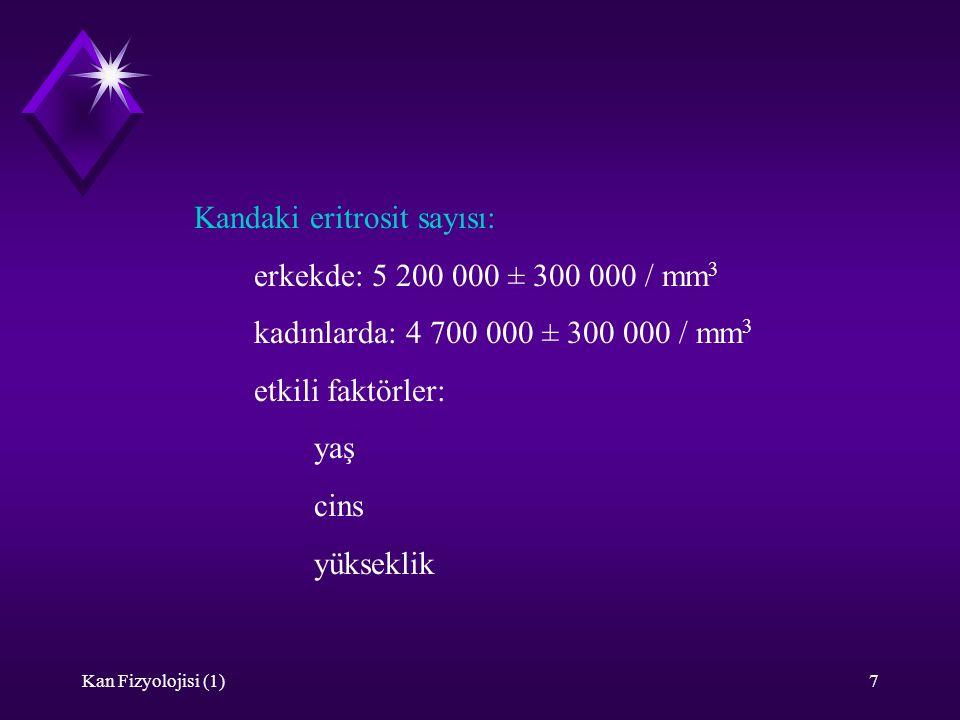 Kandaki eritrosit sayısı: erkekde: 5 200 000 ± 300 000 / mm3