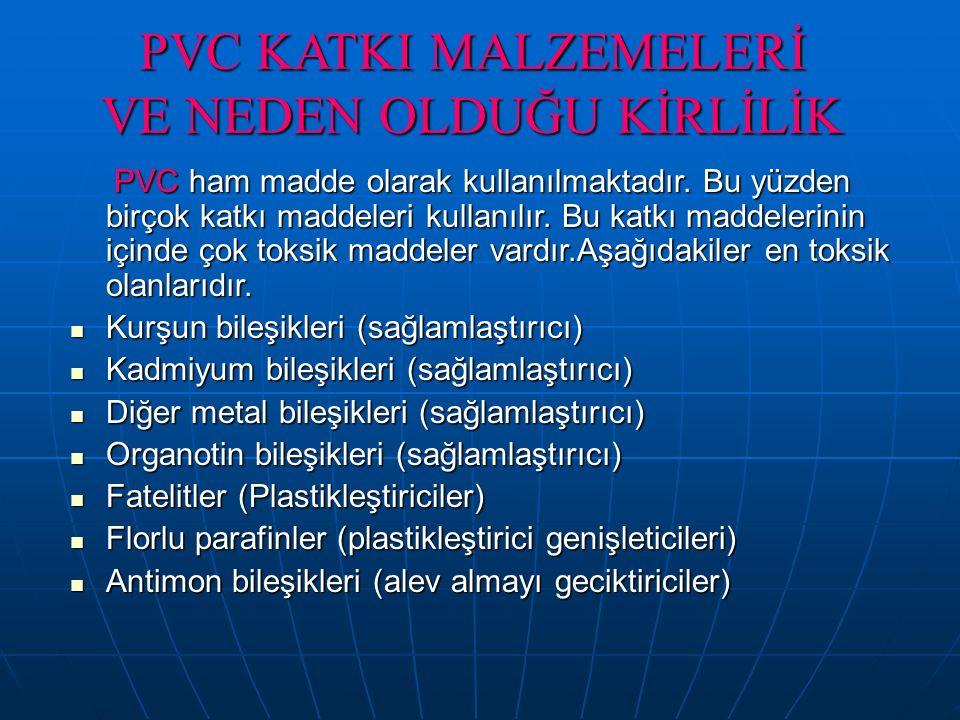 PVC KATKI MALZEMELERİ VE NEDEN OLDUĞU KİRLİLİK