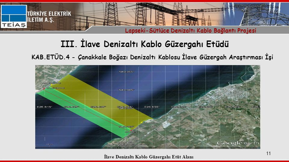 III. İlave Denizaltı Kablo Güzergahı Etüdü