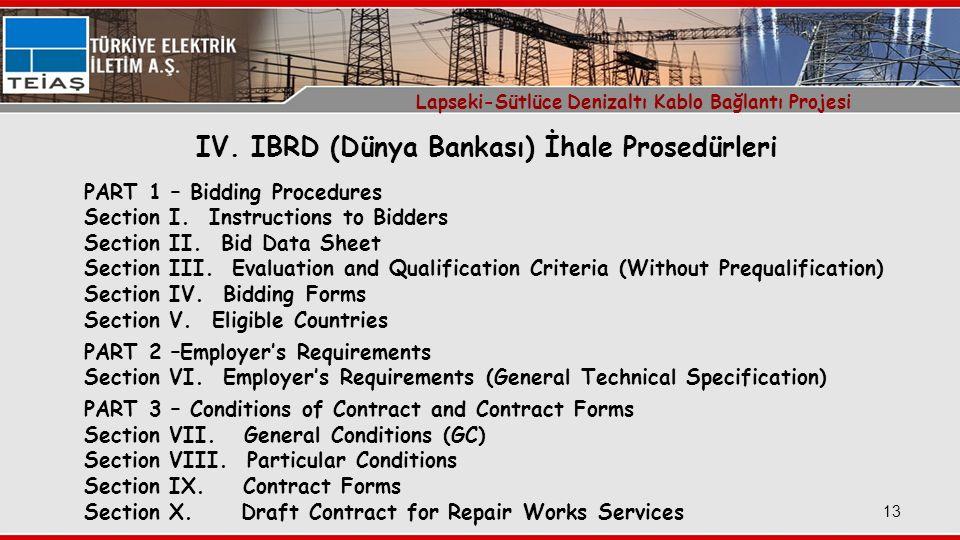 IV. IBRD (Dünya Bankası) İhale Prosedürleri