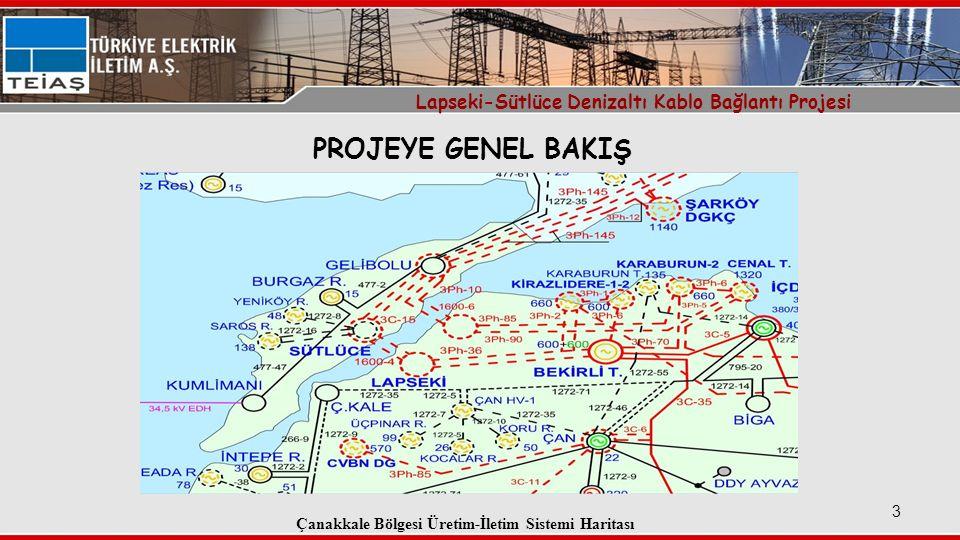PROJEYE GENEL BAKIŞ Lapseki-Sütlüce Denizaltı Kablo Bağlantı Projesi