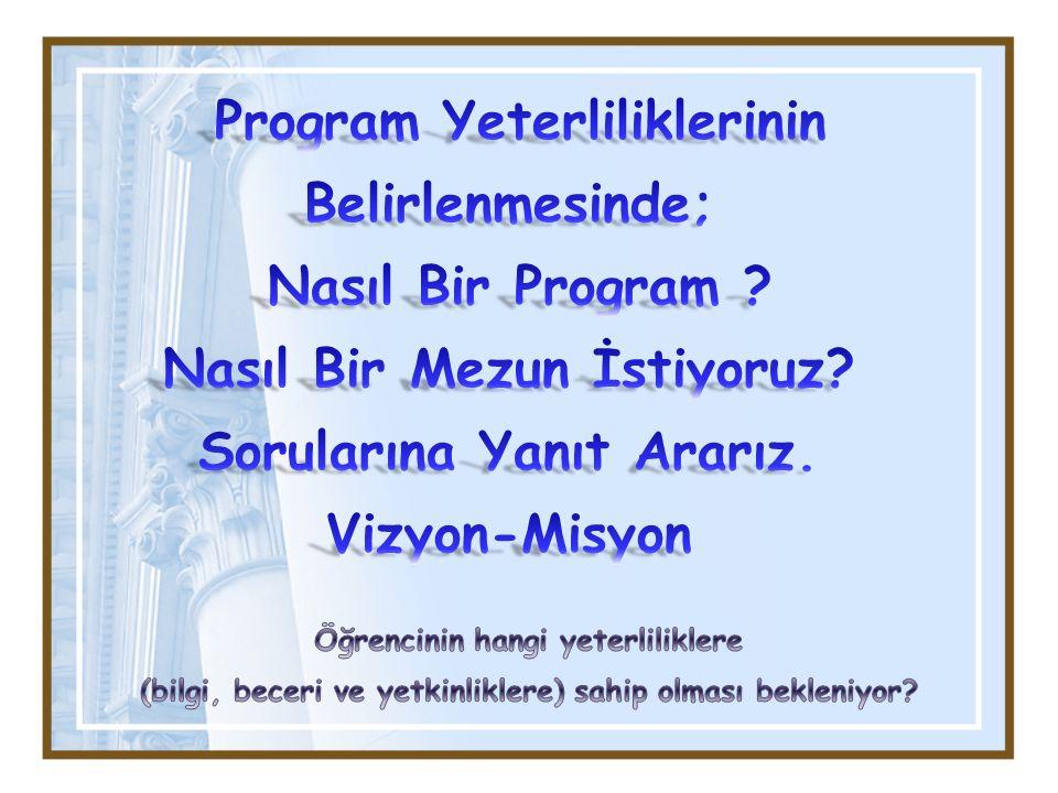 Program Yeterliliklerinin Belirlenmesinde;