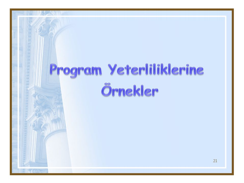 Program Yeterliliklerine