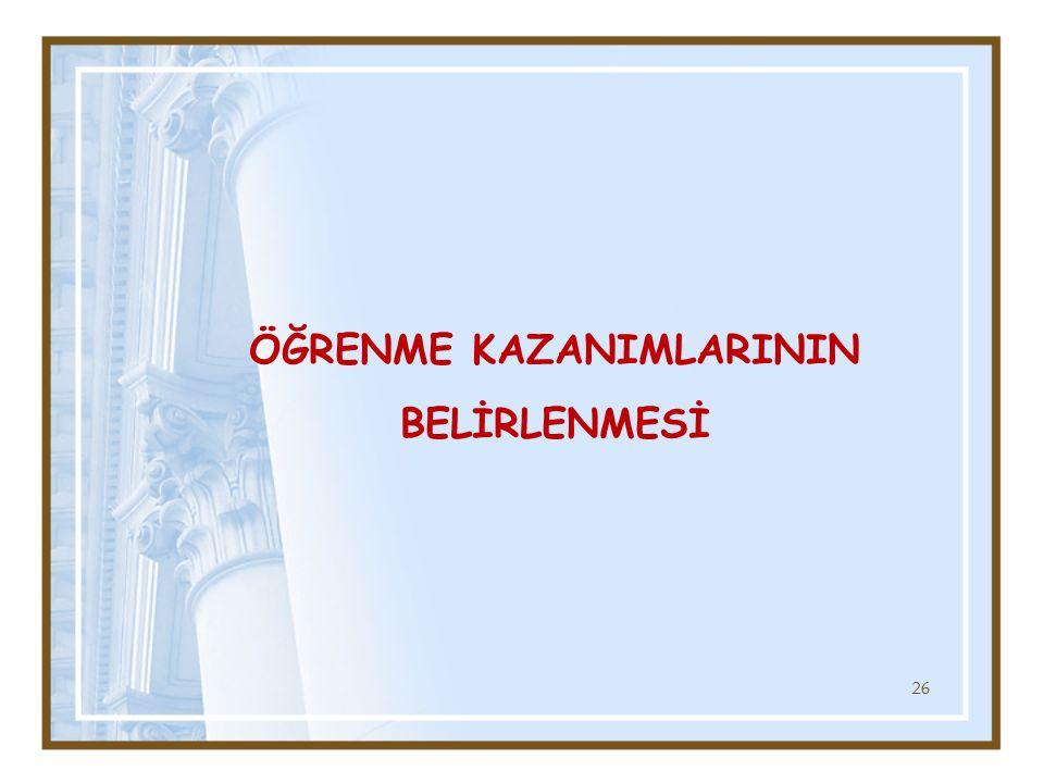 ÖĞRENME KAZANIMLARININ BELİRLENMESİ