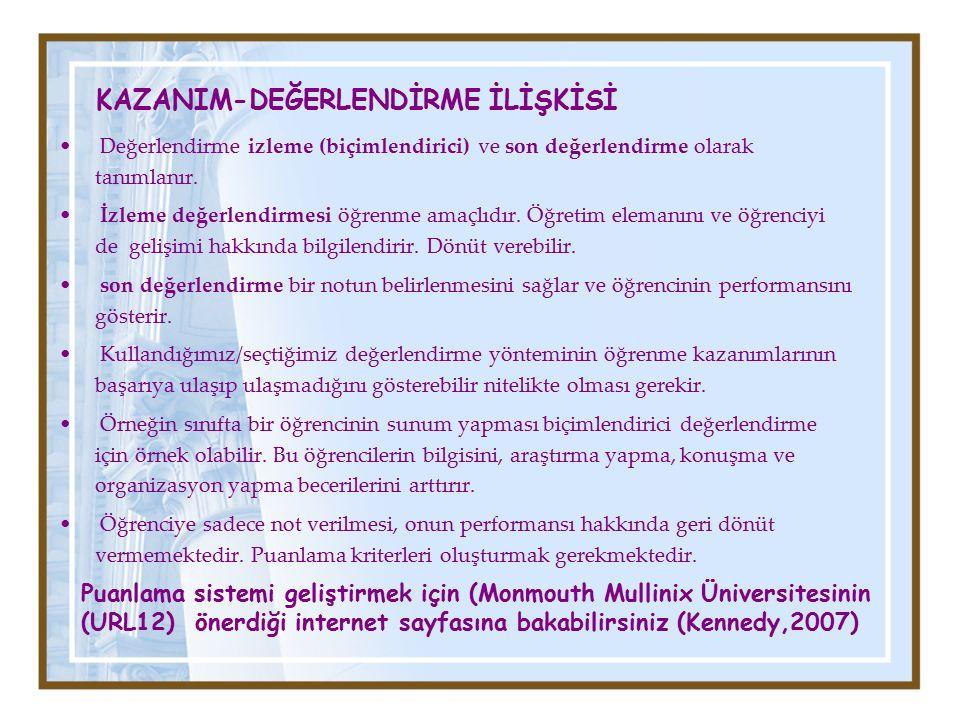 KAZANIM-DEĞERLENDİRME İLİŞKİSİ