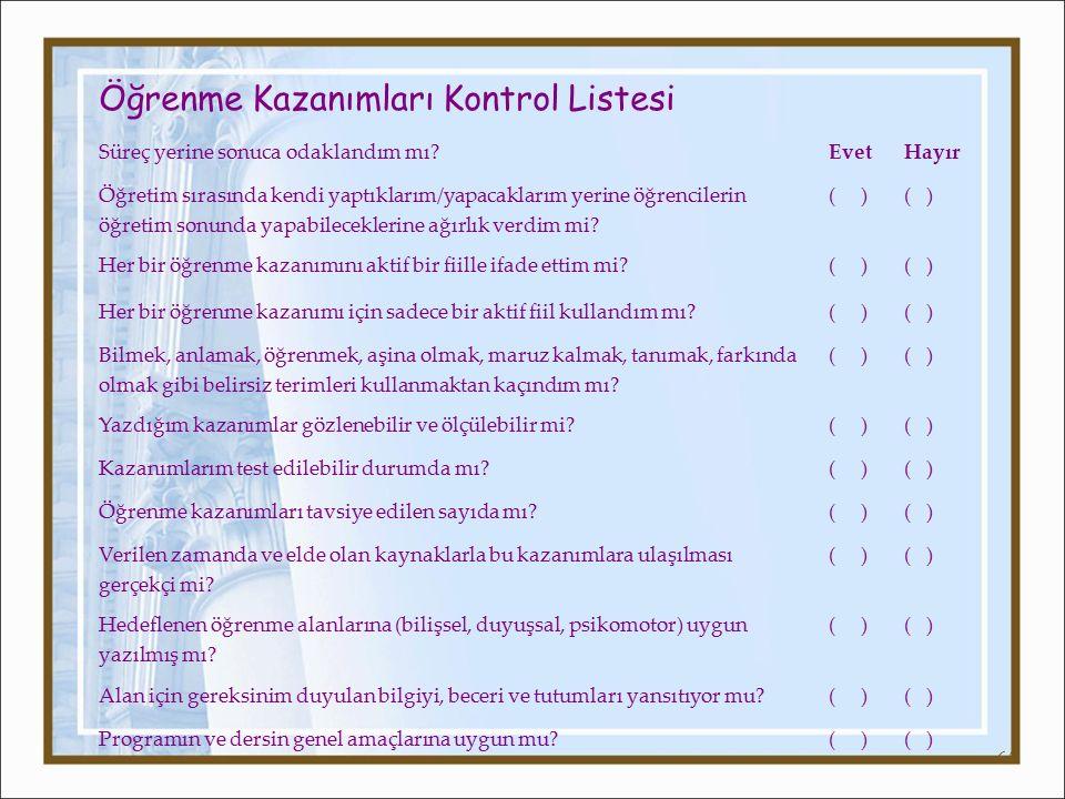 Öğrenme Kazanımları Kontrol Listesi
