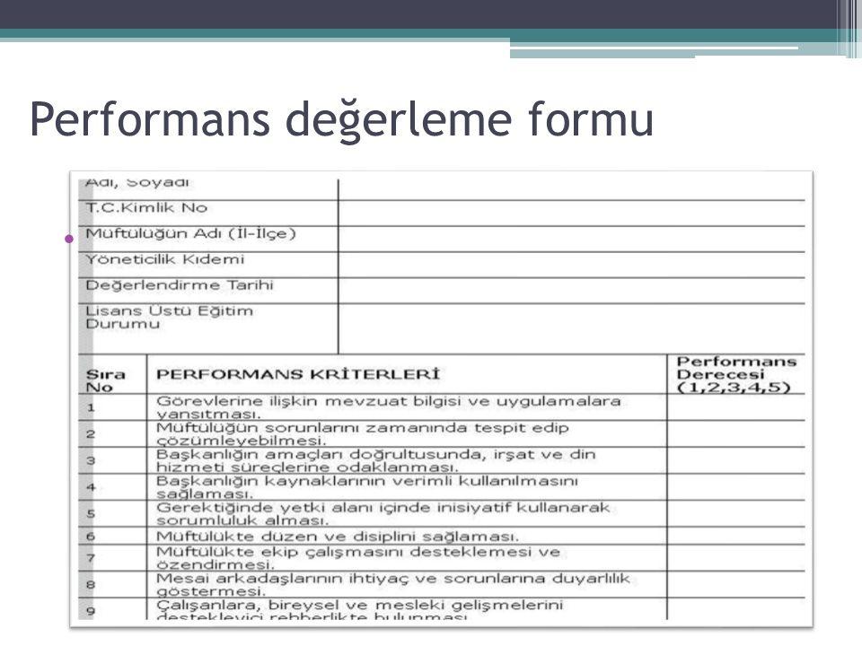 Performans değerleme formu