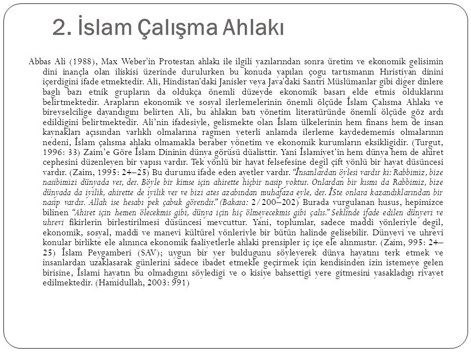 2. İslam Çalışma Ahlakı