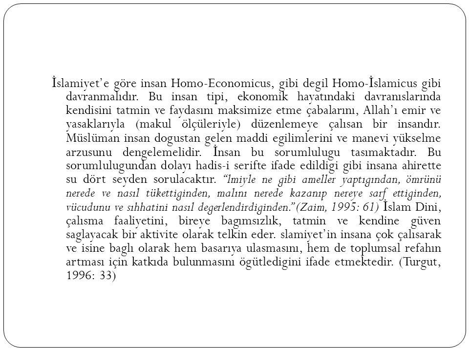 İslamiyet'e göre insan Homo-Economicus, gibi degil Homo-İslamicus gibi davranmalıdır.