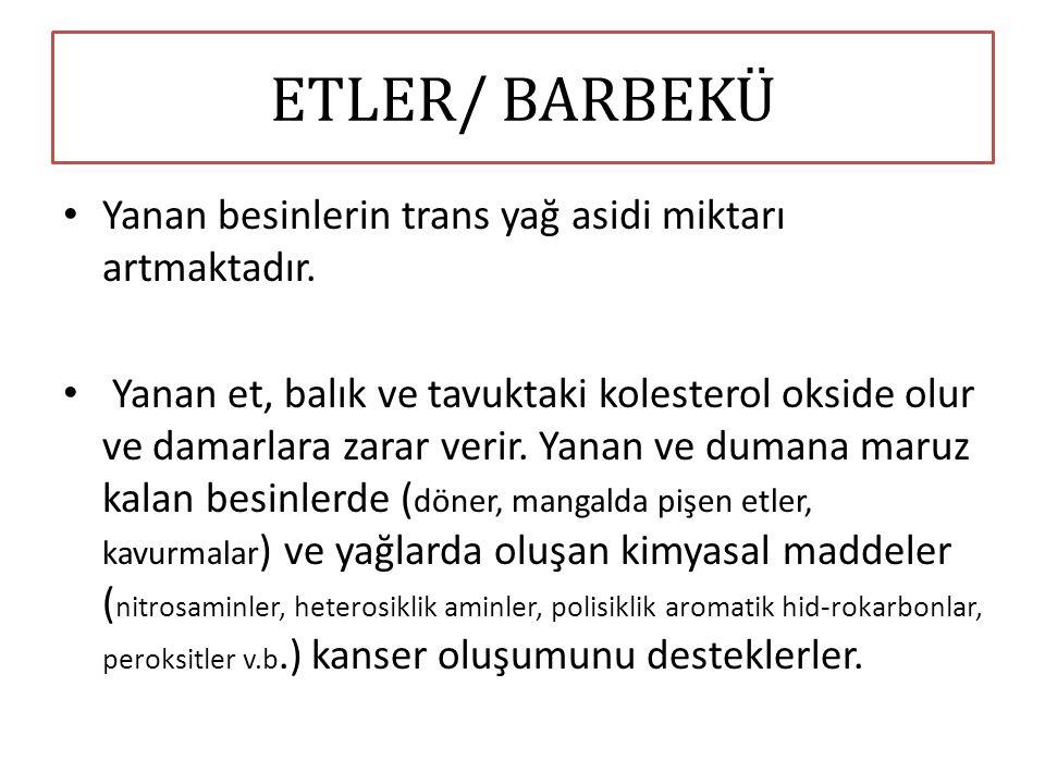 ETLER/ BARBEKÜ Yanan besinlerin trans yağ asidi miktarı artmaktadır.