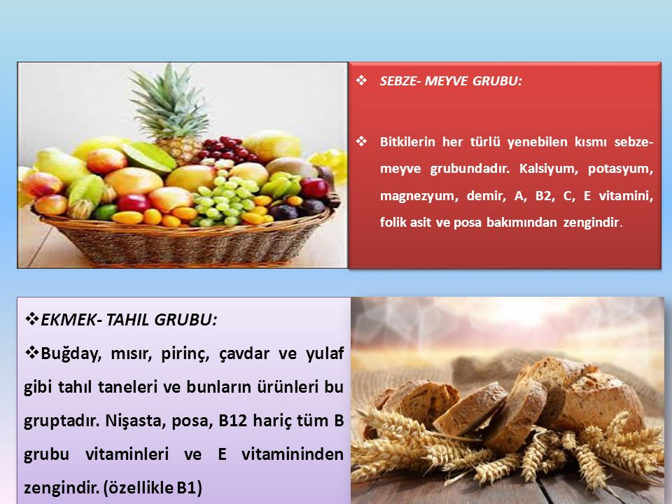 SEBZE- MEYVE GRUBU:
