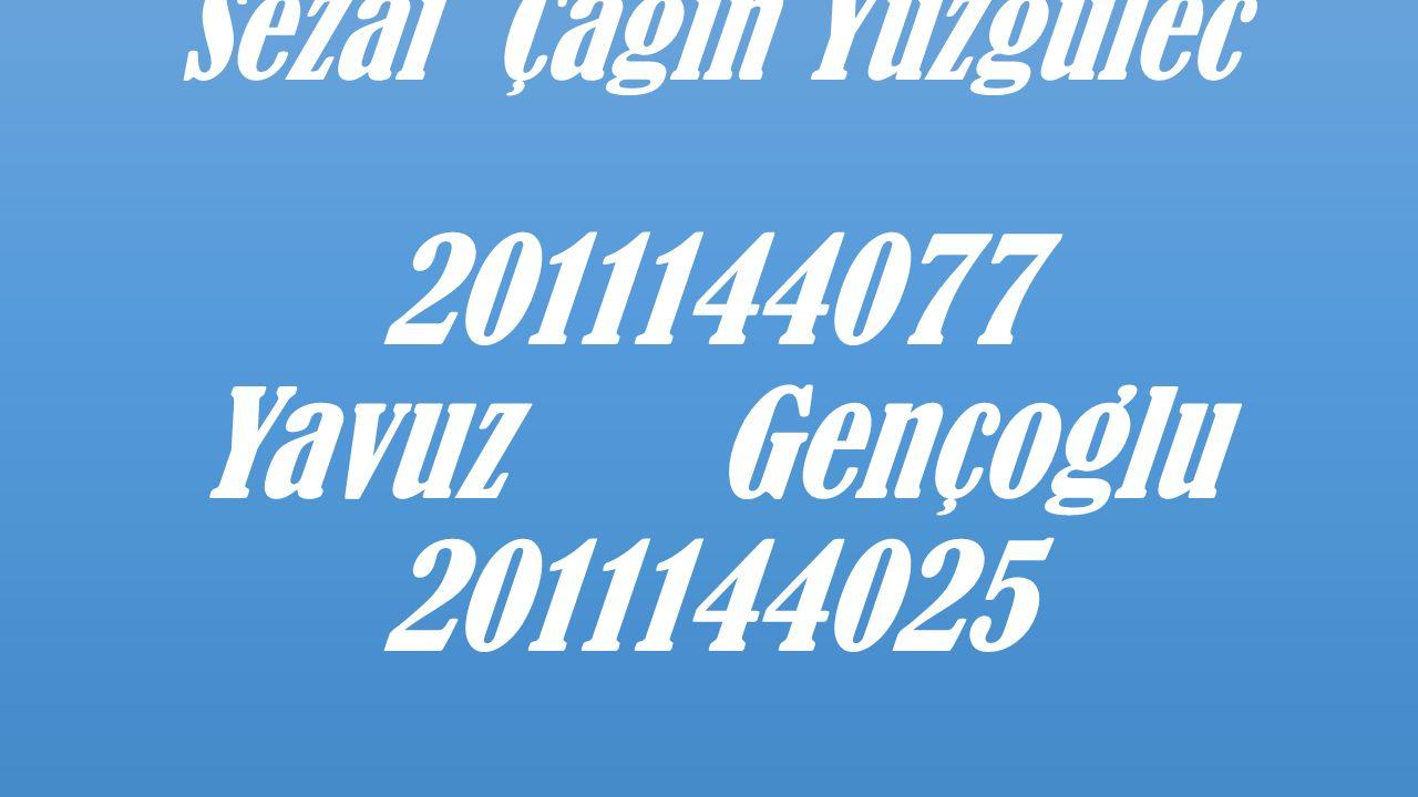 Sezai Çagin Yuzgulec 2011144077 Yavuz Gençoglu 2011144025