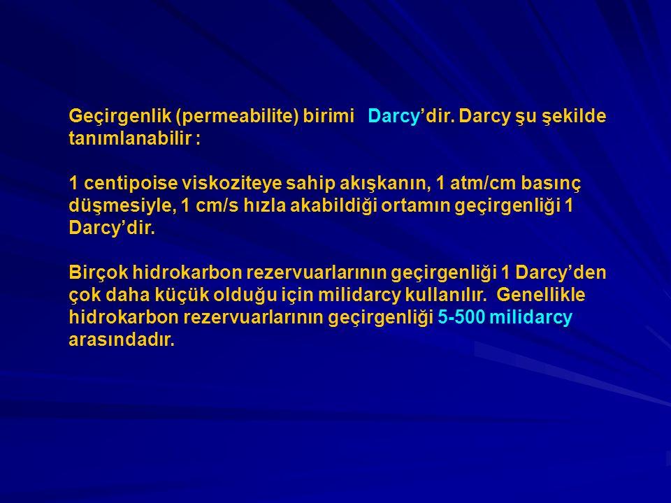 Geçirgenlik (permeabilite) birimi Darcy'dir