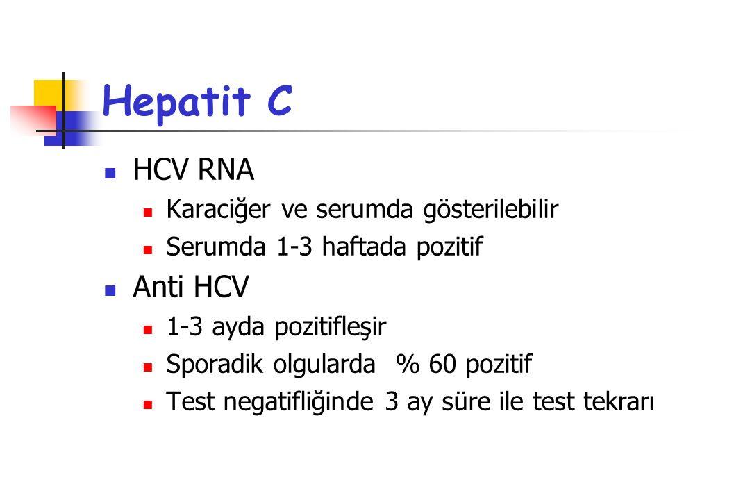 Hepatit C HCV RNA Anti HCV Karaciğer ve serumda gösterilebilir