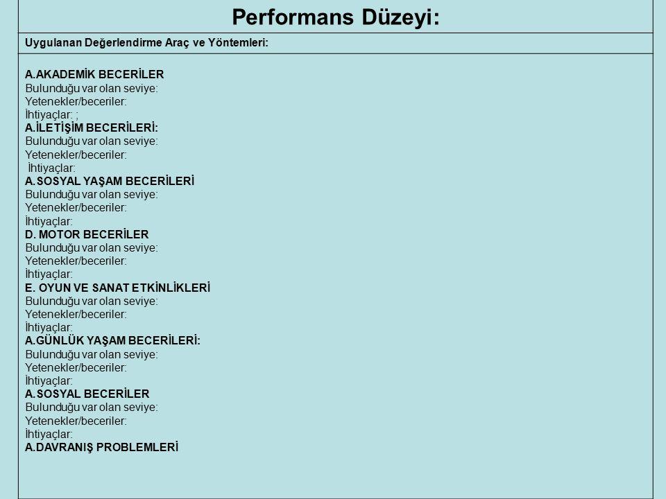 Performans Düzeyi: Uygulanan Değerlendirme Araç ve Yöntemleri: