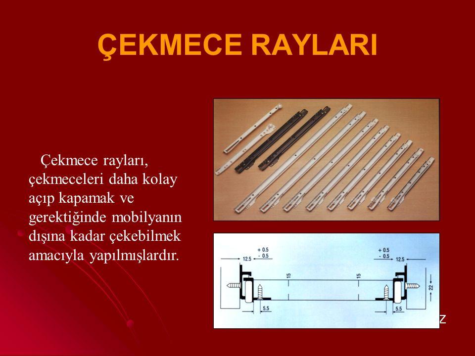 ÇEKMECE RAYLARI Çekmece rayları, çekmeceleri daha kolay açıp kapamak ve gerektiğinde mobilyanın dışına kadar çekebilmek amacıyla yapılmışlardır.