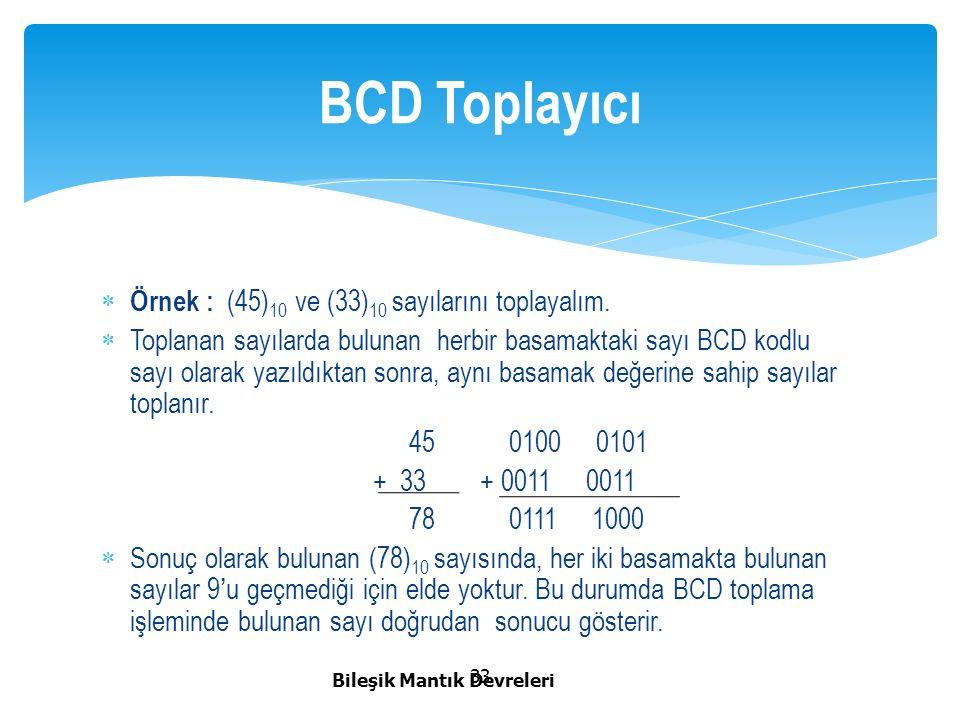 BCD Toplayıcı Örnek : (45)10 ve (33)10 sayılarını toplayalım.