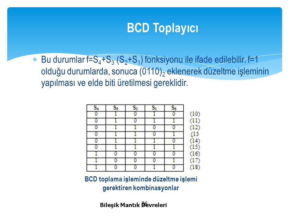 BCD toplama işleminde düzeltme işlemi gerektiren kombinasyonlar