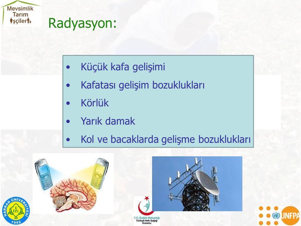 Radyasyon: Küçük kafa gelişimi Kafatası gelişim bozuklukları Körlük