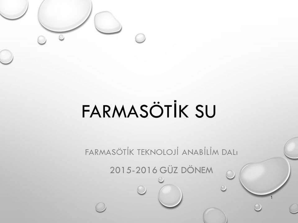 FARMASÖTİK Teknolojİ anabİLİM dalı 2015-2016 Güz Dönem