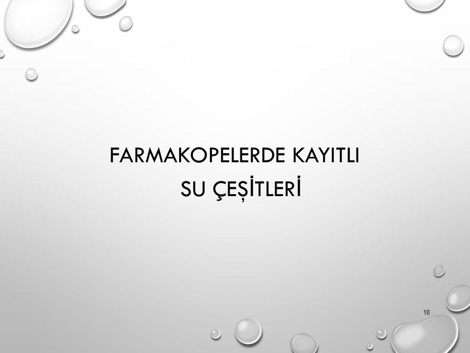 FARMAKOPELERDE KAYITLI SU ÇEŞİTLERİ