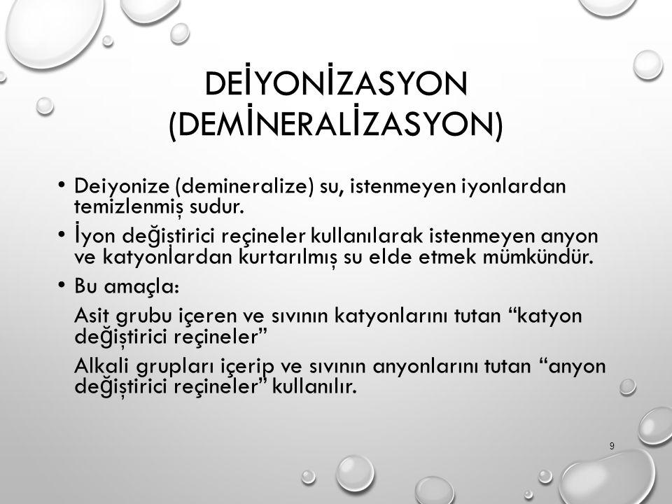 DEİYONİZASYON (DEMİNERALİZASYON)