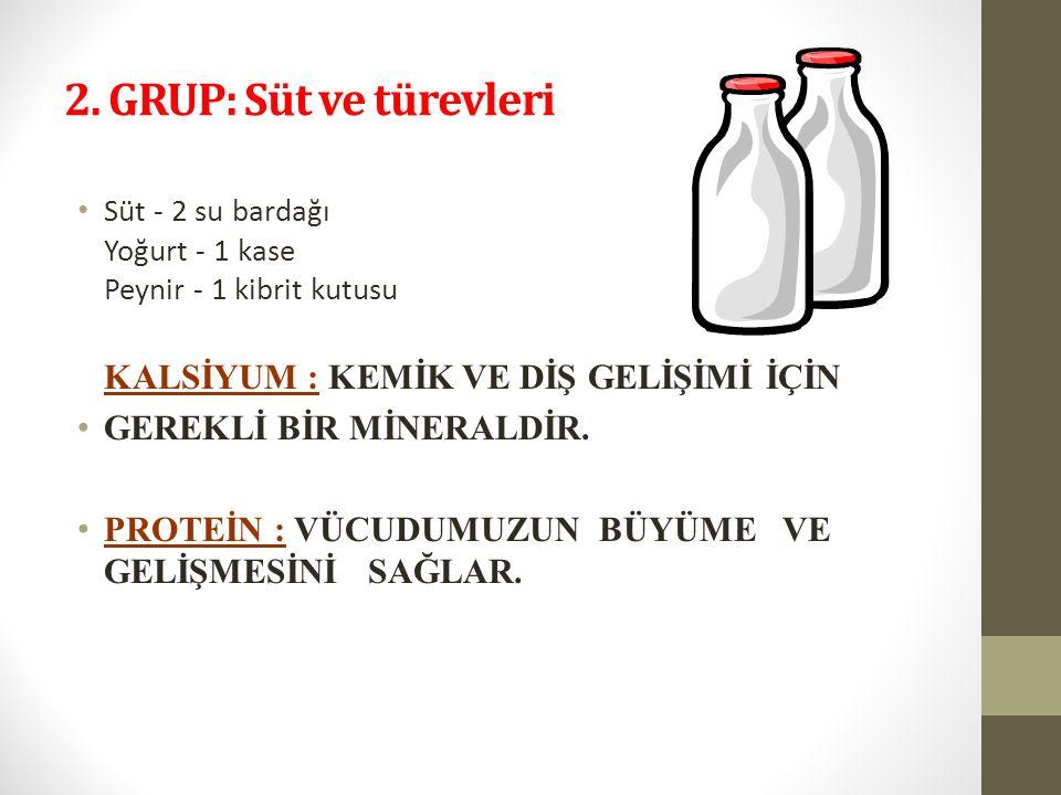 2. GRUP: Süt ve türevleri GEREKLİ BİR MİNERALDİR.