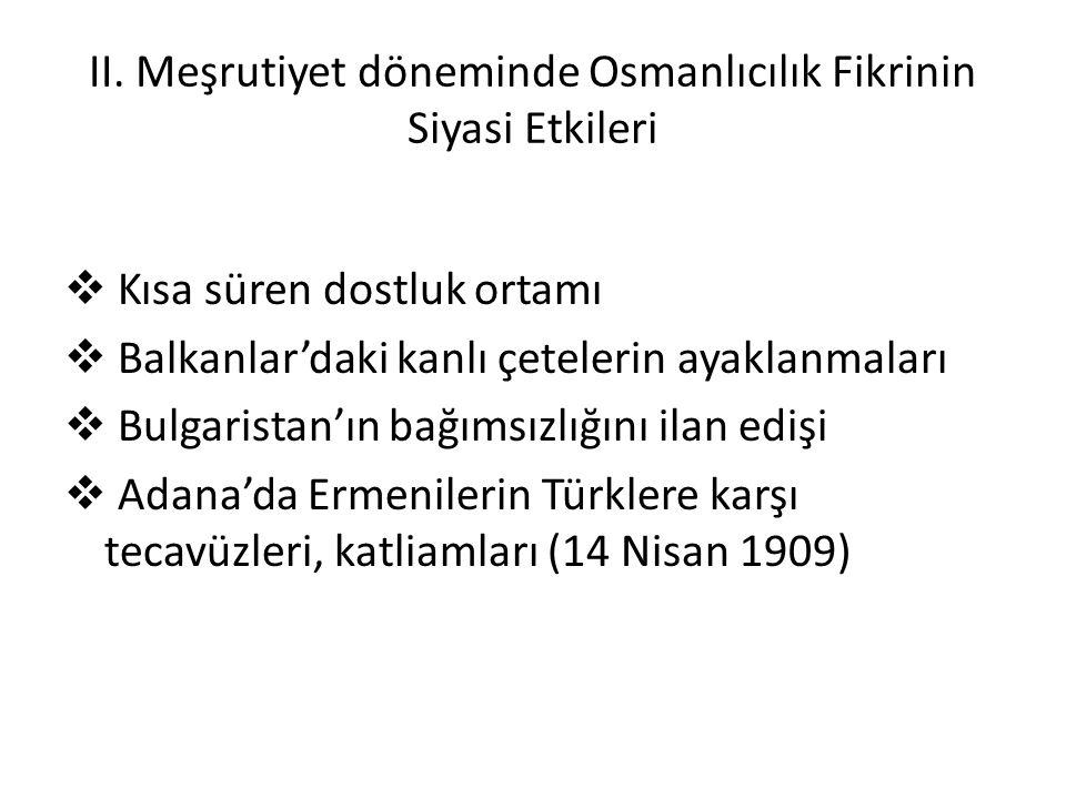 II. Meşrutiyet döneminde Osmanlıcılık Fikrinin Siyasi Etkileri