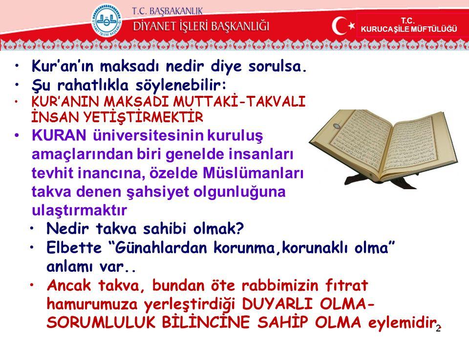 Kur'an'ın maksadı nedir diye sorulsa. Şu rahatlıkla söylenebilir: