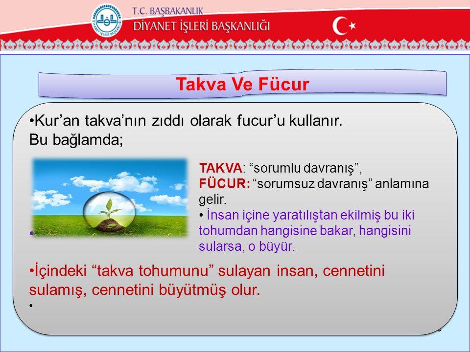 Takva Ve Fücur Kur'an takva'nın zıddı olarak fucur'u kullanır.