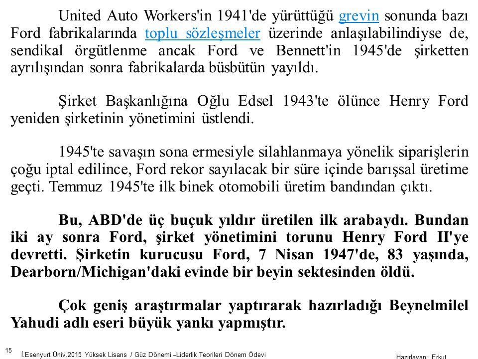 United Auto Workers in 1941 de yürüttüğü grevin sonunda bazı Ford fabrikalarında toplu sözleşmeler üzerinde anlaşılabilindiyse de, sendikal örgütlenme ancak Ford ve Bennett in 1945 de şirketten ayrılışından sonra fabrikalarda büsbütün yayıldı.