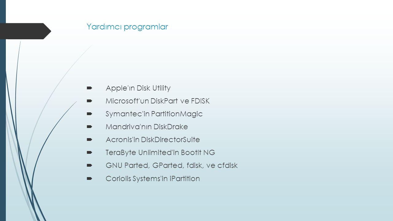 Yardımcı programlar Apple ın Disk Utility