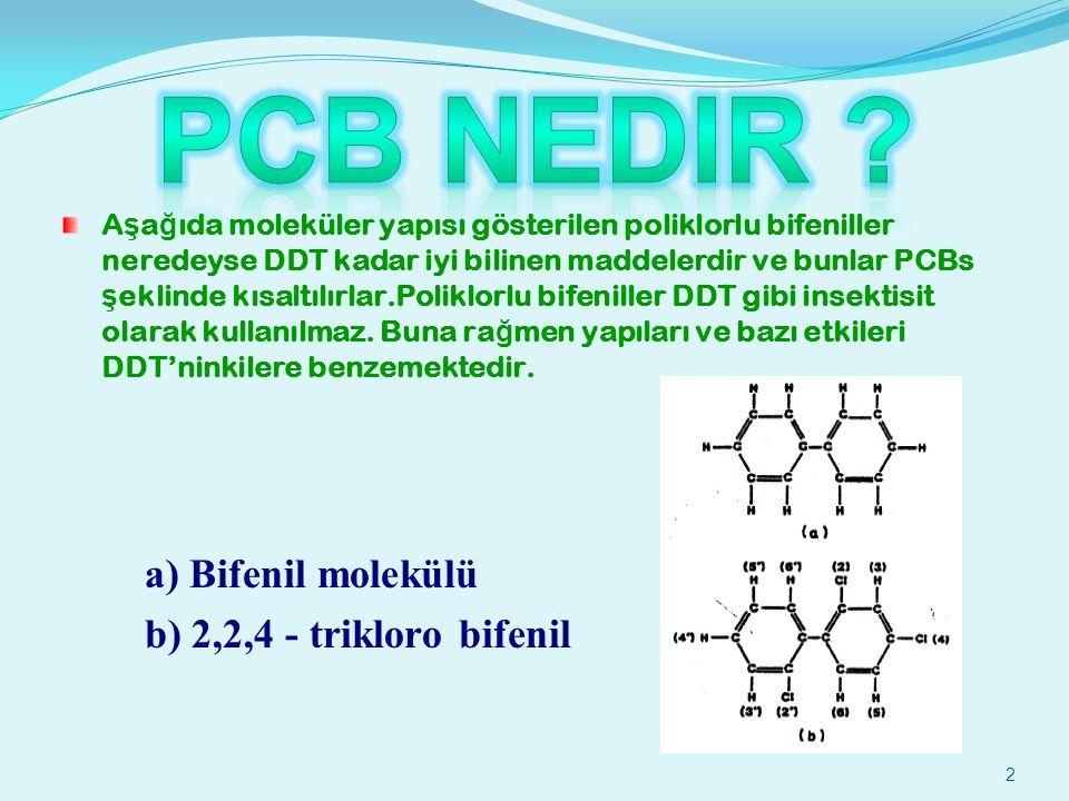 PCB Nedir a) Bifenil molekülü b) 2,2,4 - trikloro bifenil