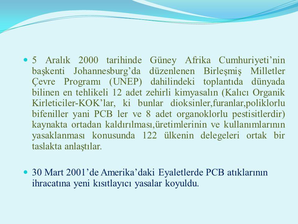 5 Aralık 2000 tarihinde Güney Afrika Cumhuriyeti'nin başkenti Johannesburg'da düzenlenen Birleşmiş Milletler Çevre Programı (UNEP) dahilindeki toplantıda dünyada bilinen en tehlikeli 12 adet zehirli kimyasalın (Kalıcı Organik Kirleticiler-KOK'lar, ki bunlar dioksinler,furanlar,poliklorlu bifeniller yani PCB ler ve 8 adet organoklorlu pestisitlerdir) kaynakta ortadan kaldırılması,üretimlerinin ve kullanımlarının yasaklanması konusunda 122 ülkenin delegeleri ortak bir taslakta anlaştılar.
