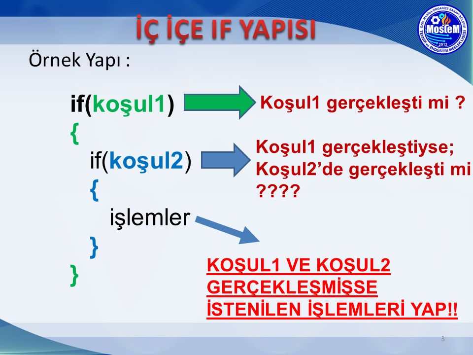 İÇ İÇE IF YAPISI if(koşul1) { if(koşul2) { işlemler } } Örnek Yapı :