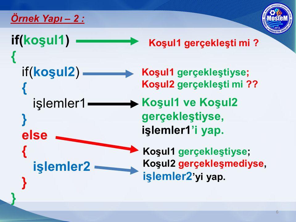 if(koşul1) { if(koşul2) { işlemler1 } else { işlemler2 } }