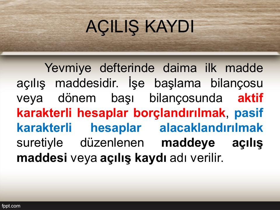 AÇILIŞ KAYDI