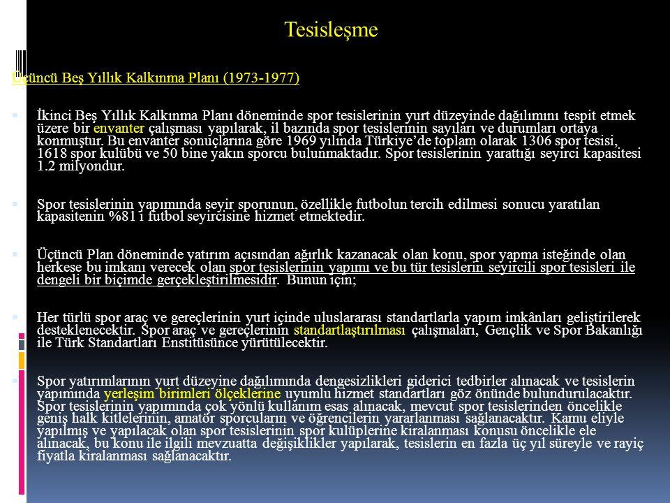 Tesisleşme Üçüncü Beş Yıllık Kalkınma Planı (1973-1977)