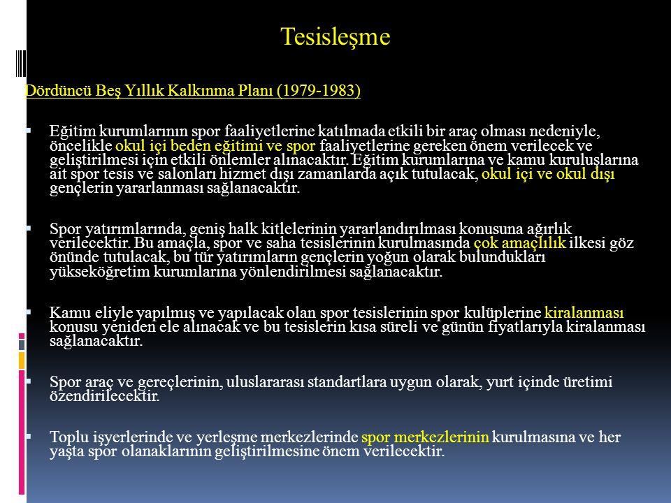 Tesisleşme Dördüncü Beş Yıllık Kalkınma Planı (1979-1983)