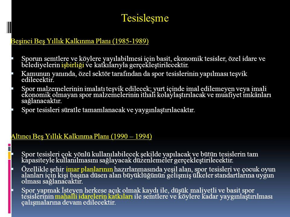 Tesisleşme Beşinci Beş Yıllık Kalkınma Planı (1985-1989)