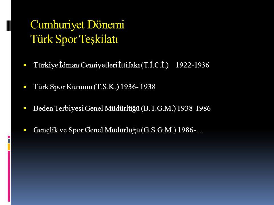 Cumhuriyet Dönemi Türk Spor Teşkilatı