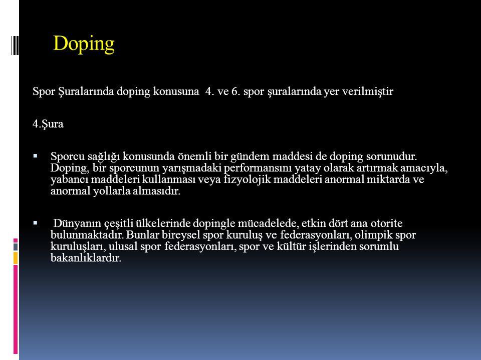 Doping Spor Şuralarında doping konusuna 4. ve 6. spor şuralarında yer verilmiştir. 4.Şura.
