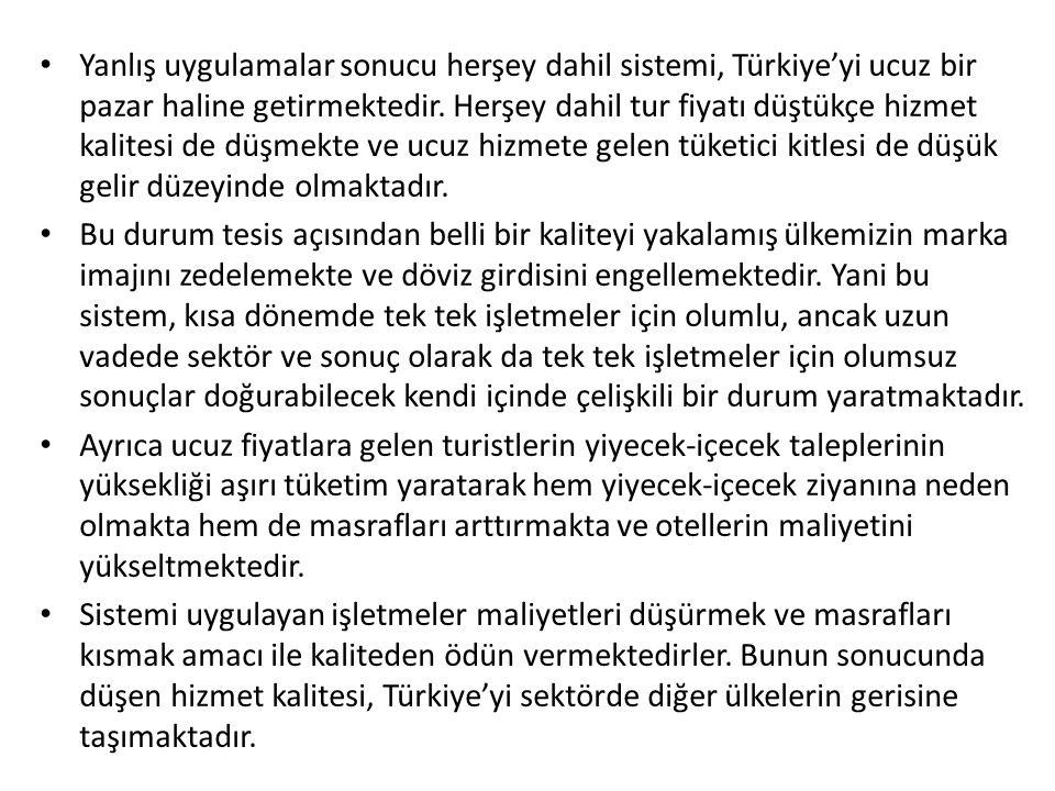 Yanlış uygulamalar sonucu herşey dahil sistemi, Türkiye'yi ucuz bir pazar haline getirmektedir. Herşey dahil tur fiyatı düştükçe hizmet kalitesi de düşmekte ve ucuz hizmete gelen tüketici kitlesi de düşük gelir düzeyinde olmaktadır.