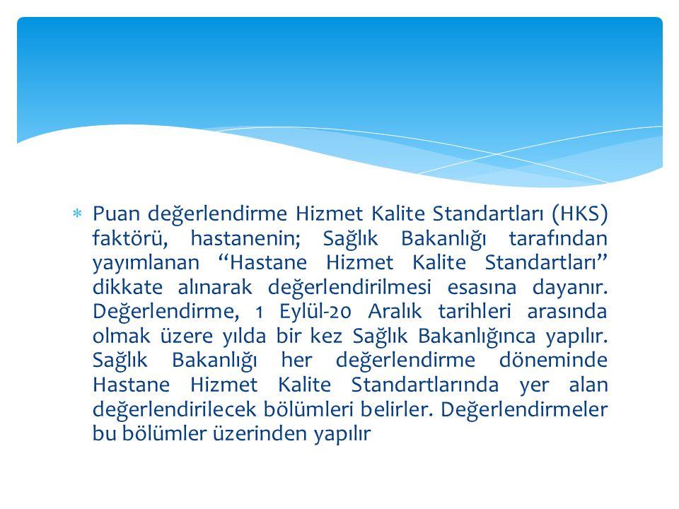 Puan değerlendirme Hizmet Kalite Standartları (HKS) faktörü, hastanenin; Sağlık Bakanlığı tarafından yayımlanan Hastane Hizmet Kalite Standartları dikkate alınarak değerlendirilmesi esasına dayanır.