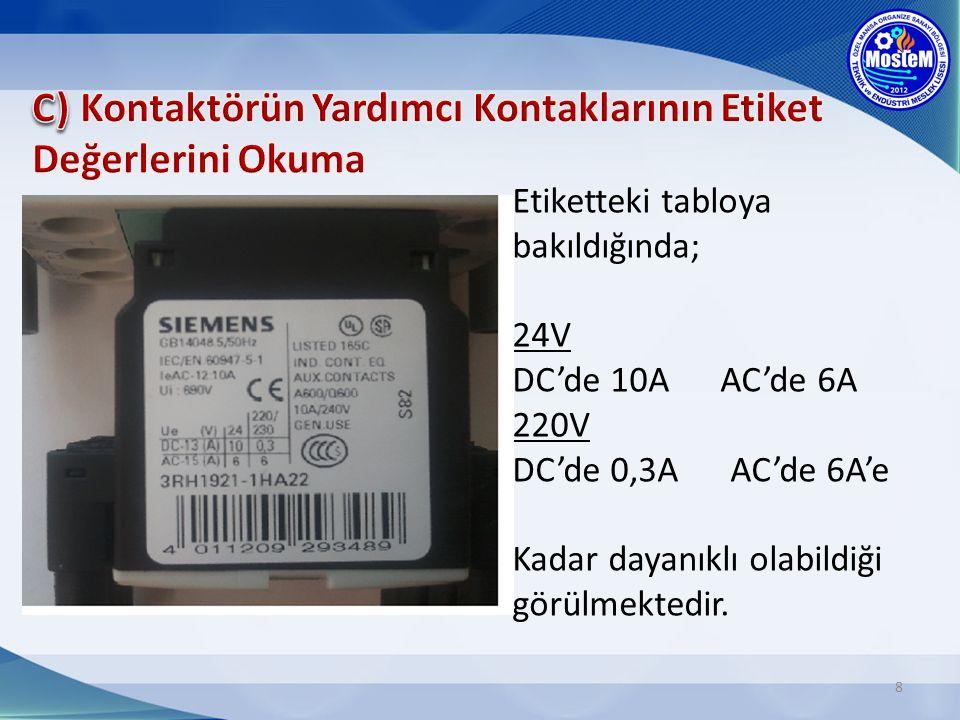 C) Kontaktörün Yardımcı Kontaklarının Etiket Değerlerini Okuma