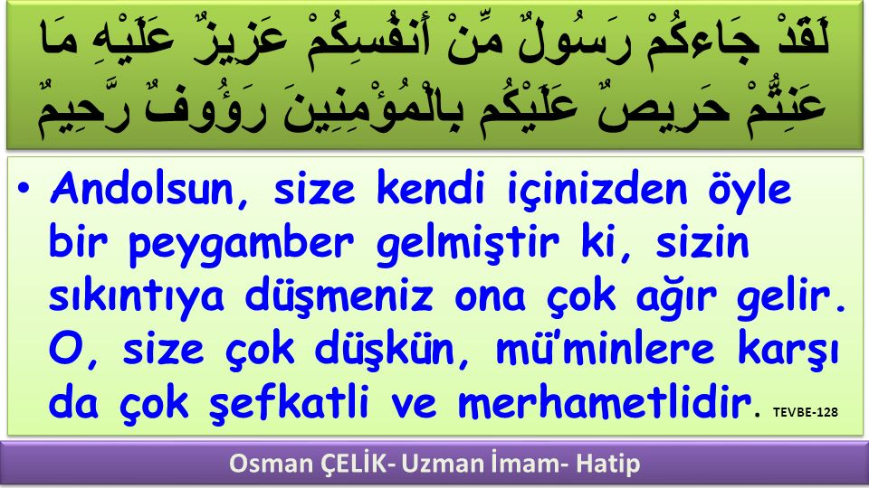 Osman ÇELİK- Uzman İmam- Hatip