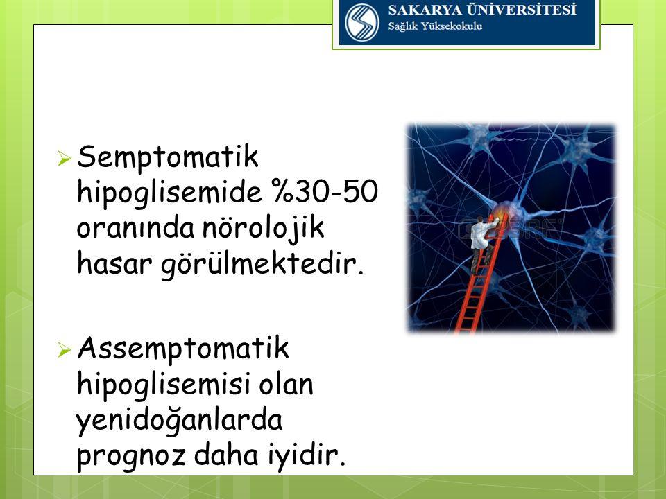 Semptomatik hipoglisemide %30-50 oranında nörolojik hasar görülmektedir.