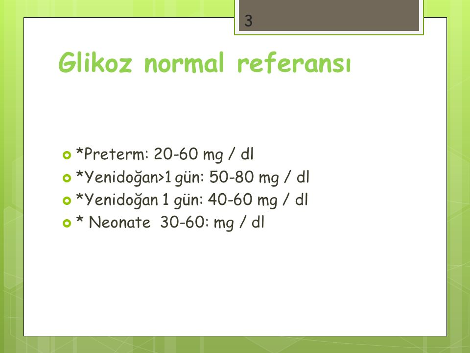 Glikoz normal referansı